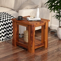 Sierra Nevada Rustic Solid Wood 2 Tier Square End Table