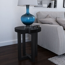 Traicere Contemporary Rustic Solid Wood Cross Leg Round End Table