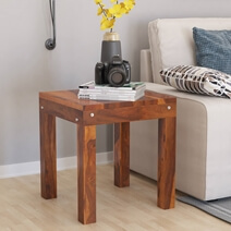 Patet Rustic Style Solid Wood End Table