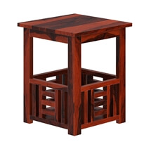 Yantis Mission Style Rustic Solid Wood Basket 2 Tier End Table