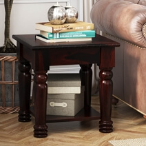 Vallecito Country Style Rustic Solid Wood 2 Tier Coffee Table