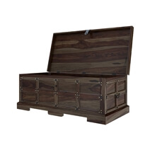 Rustic Solid Wood Trunk 3 Piece Coffee Table and End Table Set
