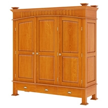 Longport Traditional Style Mahogany Wood 3 Door Large Wardrobe Armoire