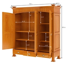 Longport Asian Style Mahogany Wood Large Armoire Wardrobe With Drawers