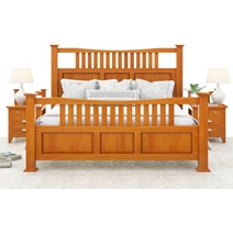 Longport Traditional Style Solid Mahogany Wood Platform Bed