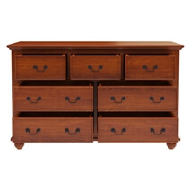 Delanson Mahogany Wood 7 Drawer Double Dresser