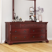 Cayuta Traditional Style Solid Mahogany Wood 7 Drawer Dresser