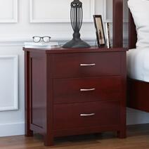 Amenia Solid Mahogany Wood 3 Drawer Nightstand