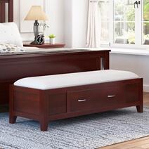 Amenia Solid Mahogany Wood 1 Drawer Bedroom Ottoman