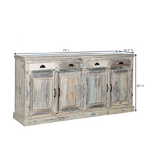 Cavea Country Winter White Reclaimed Wood 4 Drawer Large Sideboard