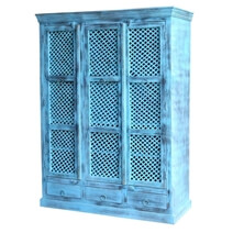 Turin Distress Blue Reclaimed Wood Large Armoire Wardrobe With Drawers