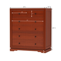 Duanesburg Solid Mahogany Wood 6 Drawer Vertical Dresser