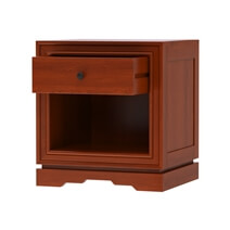 Duanesburg Solid Mahogany Wood Open Shelf 1 Drawer Nightstand