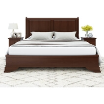 Accoville Traditional Mahogany Wood Platform Panel Bed Frame