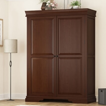 Accoville Mahogany Wood Large Bedroom Clothing Armoire With Shelves