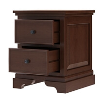 Accoville Traditional Mahogany Wood 2 Drawer Nightstand