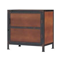 Kagawa Rustic Iron Industrial Nightstand Cabinet