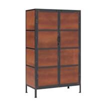 Kagawa Rustic Iron Industrial Armoire Cabinet