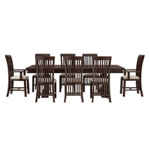 Tannersville Solid Mahogany Wood Dining Table & Chair Set For 8 People
