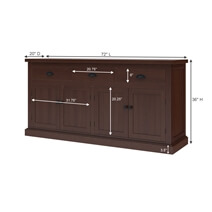 Tannersville Solid Mahogany Wood 3 Drawer Large Sideboard Cabinet