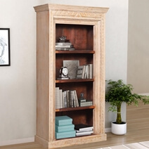 Kenvir Reclaimed Wood Shabby Chic 4 Open Shelf Standard Bookcase