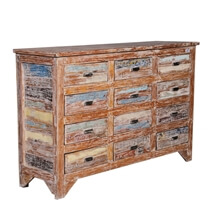 Kevil Handpainted Distressed Reclaimed Wood Dresser With 12 Drawer