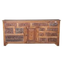 Salvisa Rustic Reclaimed Wood Handcrafted 13 Drawer Dresser