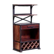 Chilmark Rustic Reclaimed Wood Industrial Bar Cabinet