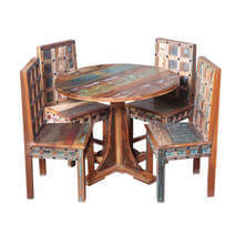 Walstonburg Reclaimed Wood Furniture Round Dining Table and Chair Set