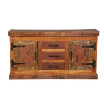Gerlach Reclaimed Wood Furniture 3 Drawer Rustic Sideboard Cabinet