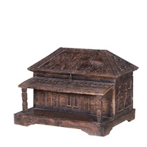 Unique Reclaimed Wood Furniture Hand Carved Hut Style Storage Trunk