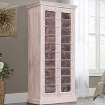 Brass Elephant Door Reclaimed Solid Wood Cabinet Armoire For Storage