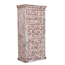 Strasburg Distressed Reclaimed Wood Handcrafted Brass Inlay Armoire