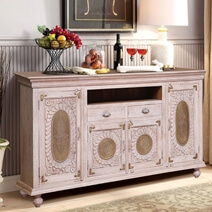 Balaton Distressed White Brass Accent Reclaimed Wood Large Sideboard