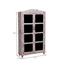 Aynor Glass Door And Rustic Distressed Reclaimed Wood Armoire Cabinet