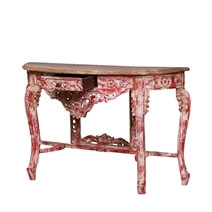 Wesley Distressed Red Reclaimed Wood French Hall Console Table