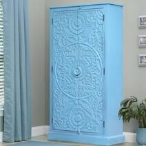 Mandala Hand Carved Reclaimed Wood Blue Storage Cabinet