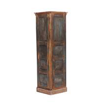 Ekalaka Reclaimed Wood 4 Shelves Caved Corner Display Unit