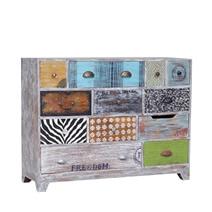 Goshen Multi-Color Hand Painted Reclaimed Wood 12 Drawer Dresser