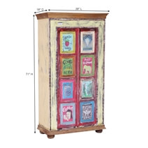 Bainville Hand Painted Rustic Reclaimed Wood Tall Armoire Cabinet