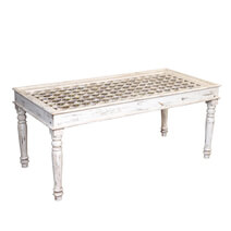 Boydton Distressed White Reclaimed Wood Accent Top Dining Table