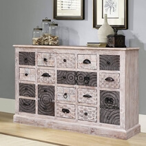 Arona Reclaimed Wood White And Grey 20 Drawer Apothecary Dresser