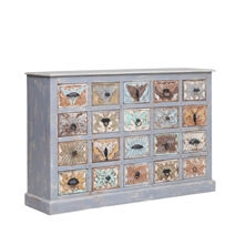 Bucksport Reclaimed Wood Handcrafted Flora Design 20 Drawer Dresser
