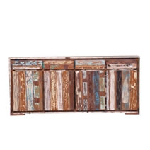 Brinnon Rustic Reclaimed Wood 4 Drawer Large Sideboard Cabinet