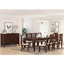 Cromberg Solid Mahogany Wood 12 Piece Dining Room Set