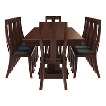 Cazenovia Solid Mahogany Wood Dining Table with 10 Chairs Set