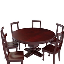 Arenzville Mahogany Wood Pedestal Round Dining Table Chairs Set