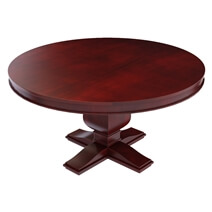 Arenzville Mahogany Wood Pedestal Round Dining Table with 6 Chairs Set