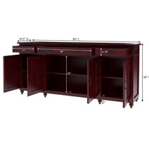 Arenzville Solid Mahogany Wood 3 Drawer Extra Long Sideboard