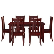 Barryton Solid Mahogany Wood 7 Piece Dining Table and Chair Set